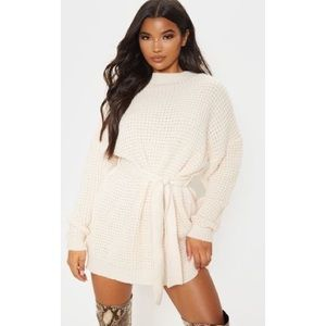 Cream Soft Touch Knitted Belted Jumper Dress